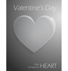 Valentines day glass transparent heart vector