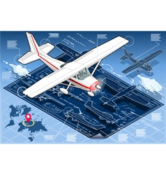 Isometric infographic airplane blue print vector