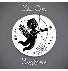 Sagittarius zodiac sign of horoscope circle emblem vector