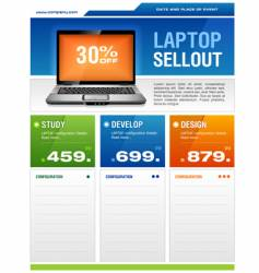 Laptop sale flyer vector