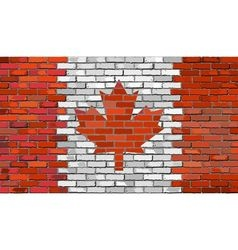 Grunge flag of canada on a brick wall vector