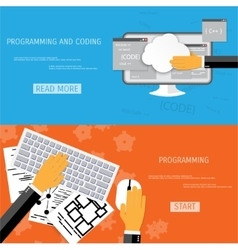 Flat concept of programming and coding vector