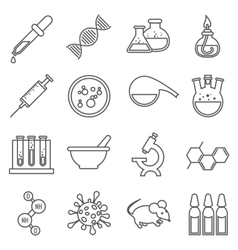 Clinical medical laboratory line icons set vector