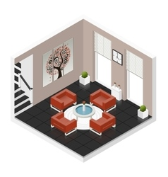 Hall room isometric icon set vector