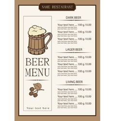 Menu for a pub vector