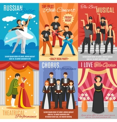 Flat theatre posters set vector