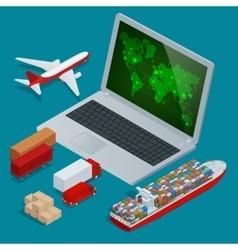 Global logistics network web site concept flat 3d vector