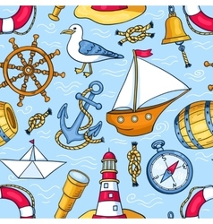 Seamless pattern with sea objects vector