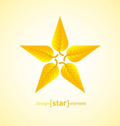 Abstract design element star with yellow autumn vector image