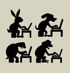 Animal Activities with Laptop vector image
