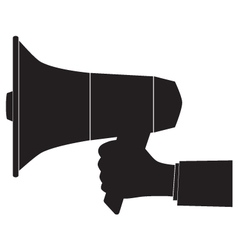 Black silhouette of a megaphone and hand vector