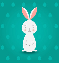 bunny on turquoise eggs background vector image vector image
