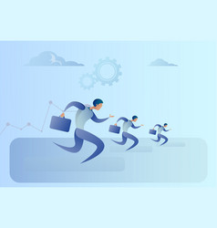 business people group run team leader competition vector image