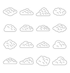 Clouds icons set outline style vector