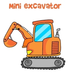 Collection of mini excavator cartoon vector