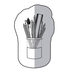 contour coloured pencils in jar icon vector image vector image