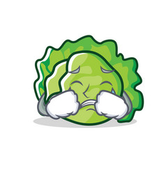 Crying lettuce character cartoon style vector