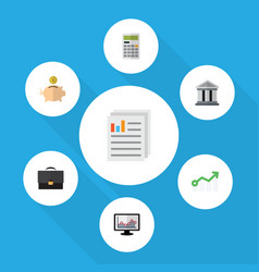 Flat icon finance set of chart bank calculate vector