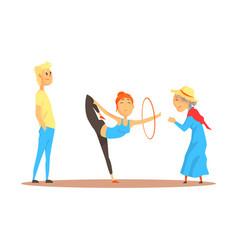 Girl doing gymnastics dance with hoop before happy vector