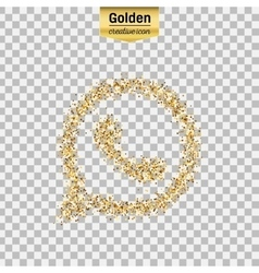 Gold glitter icon of telephone isolated on vector