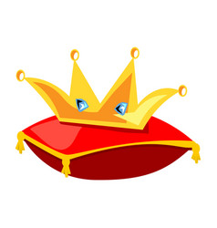 golden crown on the red pillow vector image vector image