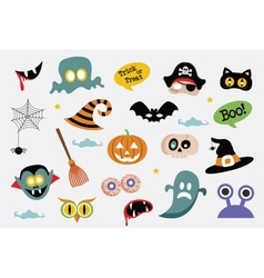 Halloween symbols and icons collection vector
