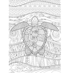 Hand drawn swimming turtle with high details vector image vector image
