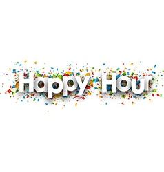 Happy hour paper banner vector