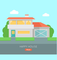 Happy house with terrace banner poster template vector