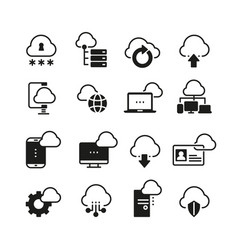 internet cloud computing icon set vector image vector image