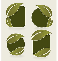 leaves stickers vector image vector image