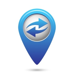 Map pointer with two arrows vector image