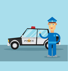 police officer stands in front of police car vector image