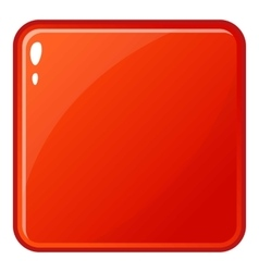 Red glossy button icon cartoon style vector