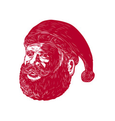 Santa claus head woodcut vector