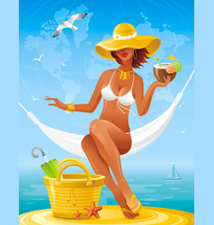 Sea beach people travel banner summer holidays vector