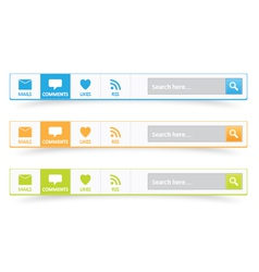 Search bar with mails comments likes and rss vector image