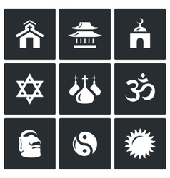 Set of religion icons catholic buddhism vector