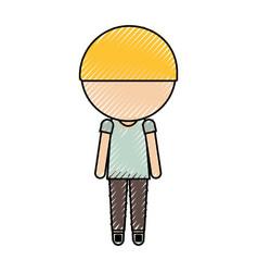 stylish avatar cartoon boy vector image