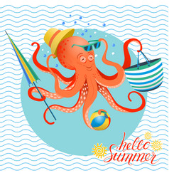 summer poster of octopus vector image vector image
