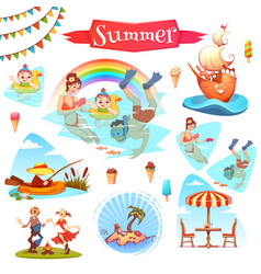 the people having fun at summer vector image vector image