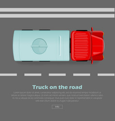 Truck on road conceptual flat web banner vector