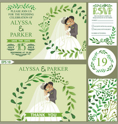 Wedding invitationgreen branches wreath kissing vector