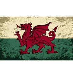Welsh flag grunge background vector