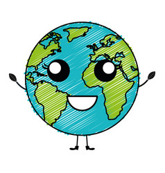 World planet earth kawaii character vector