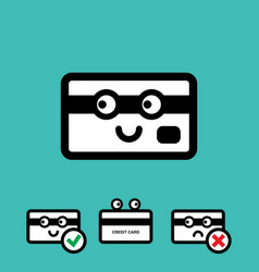 Cute credit card icon set vector