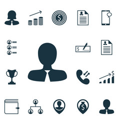 Set of 16 management icons includes messaging vector