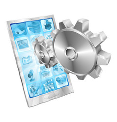 Gear cogs flying out of phone screen concept vector