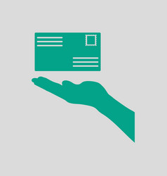 Hand holding letter icon vector