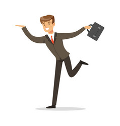 Smiling successful businessman running with his vector